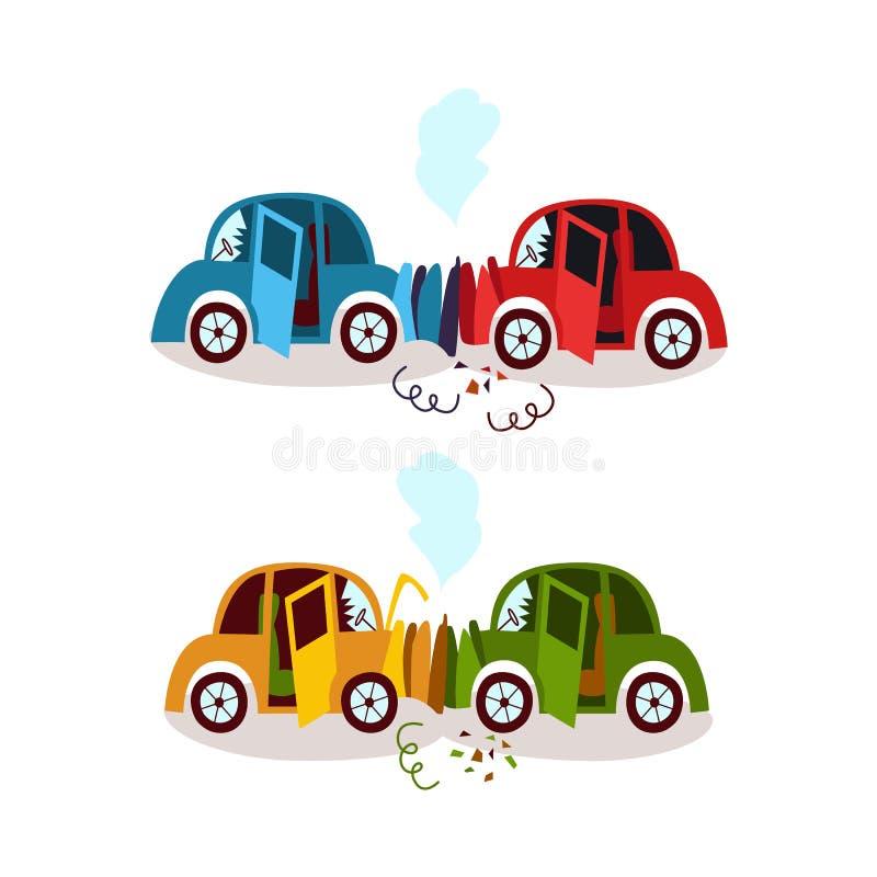 Accidente de tráfico, cabeza encendido y sistema de la colisión del final posterior libre illustration