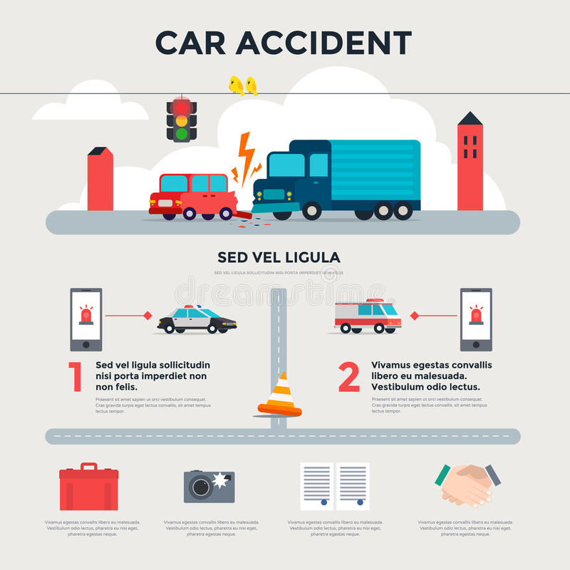 Accidente de tráfico en el camino Infografía ilustración del vector