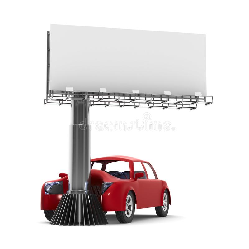 Accidente de tráfico en el fondo blanco Ejemplo aislado 3d ilustración del vector