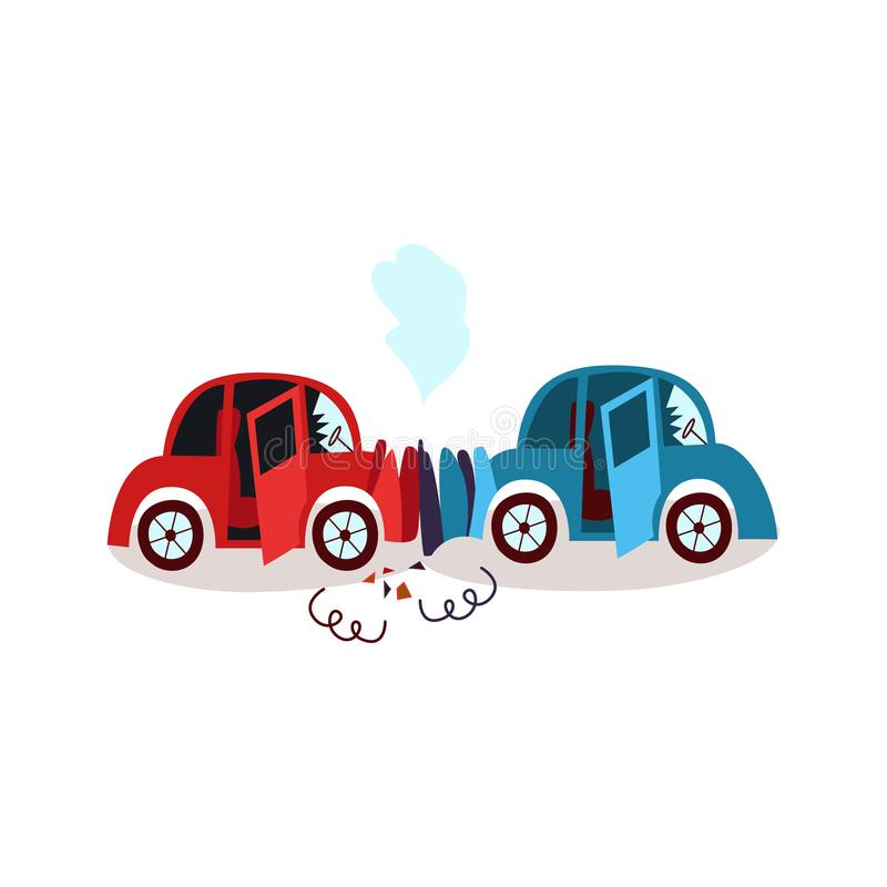 Accidente de tráfico plano de la historieta del vector libre illustration