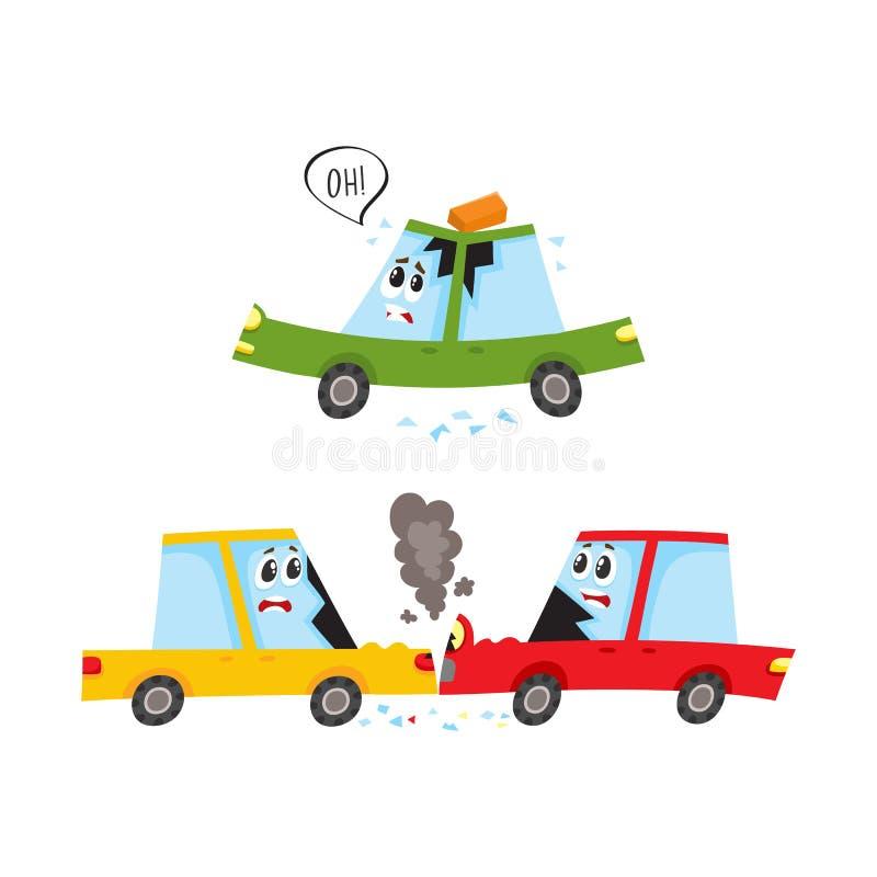 Accidente de tráfico plano de la historieta del vector ilustración del vector