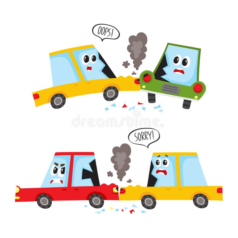 Accidente de tráfico plano de la historieta del vector aislado libre illustration