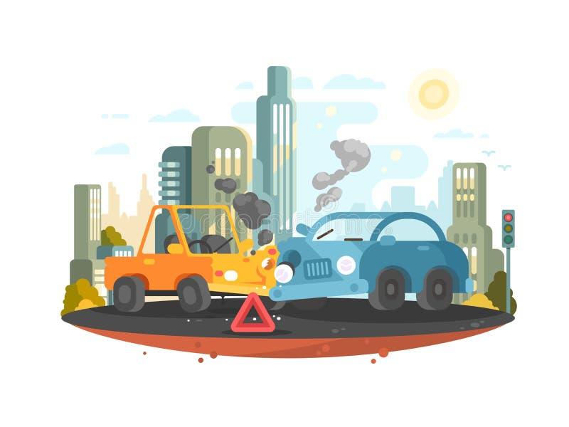 Accidente de tráfico por carretera stock de ilustración