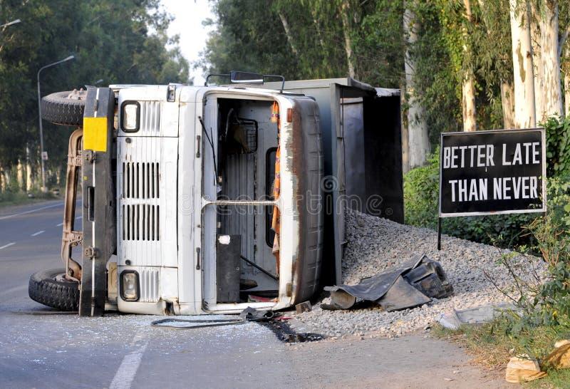 Accidente del camión fotos de archivo