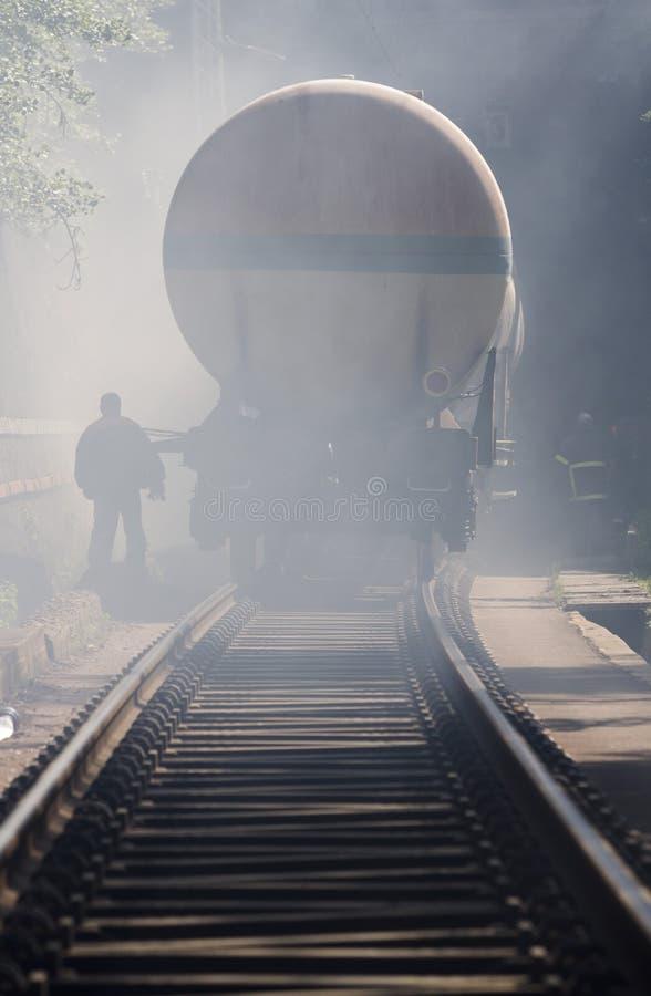 Accidente del desplome de tren del petrolero fotografía de archivo libre de regalías