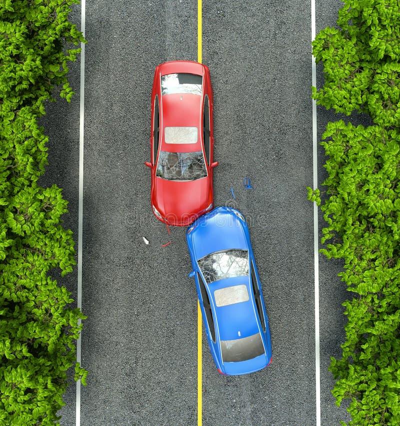Accidente en el camino stock de ilustración