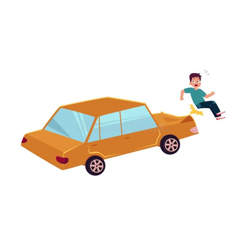 Accidente peatonal de la historieta plana del vector aislado stock de ilustración