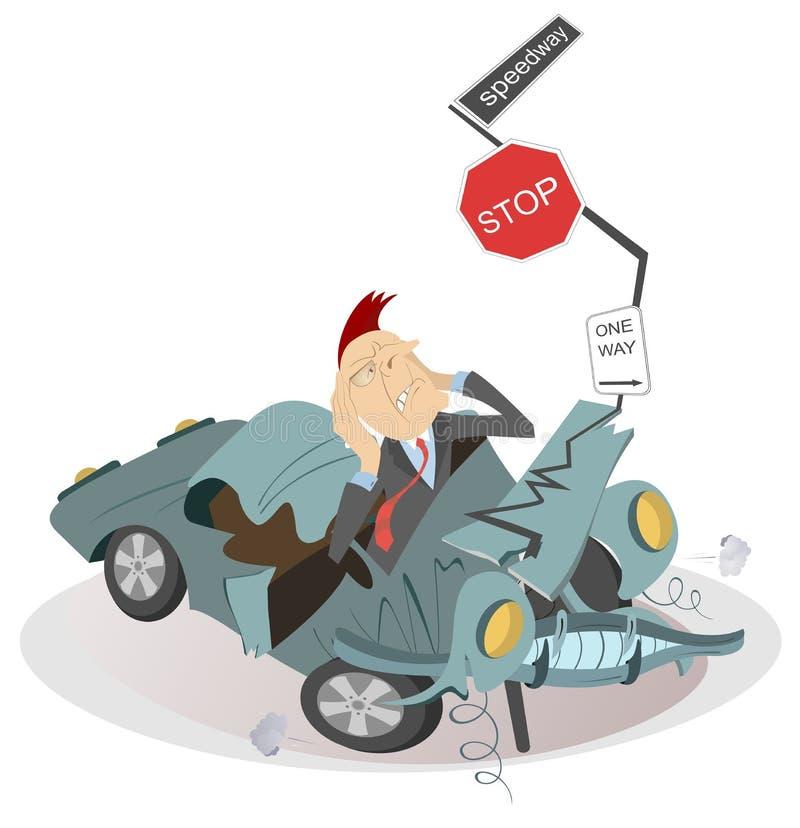 Accidente y hombre de carretera en el ejemplo estrellado del coche ilustración del vector