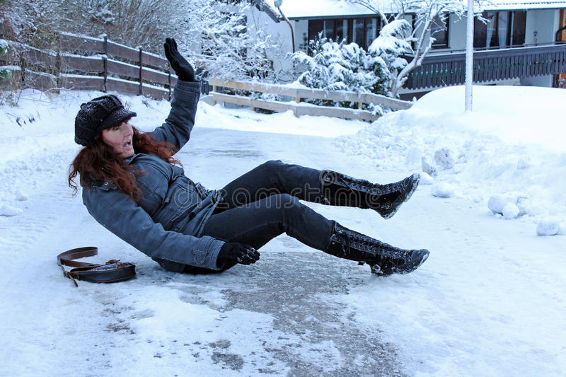 Accidents in icy roads stock photography