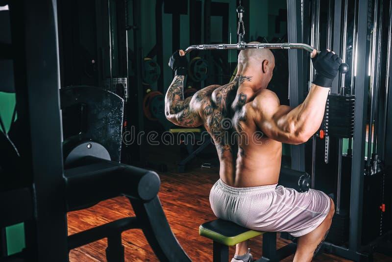 Accione al culturista atlético del individuo, ejecute el ejercicio con el aparato del gimnasio, en el músculo más amplio de la pa imagen de archivo