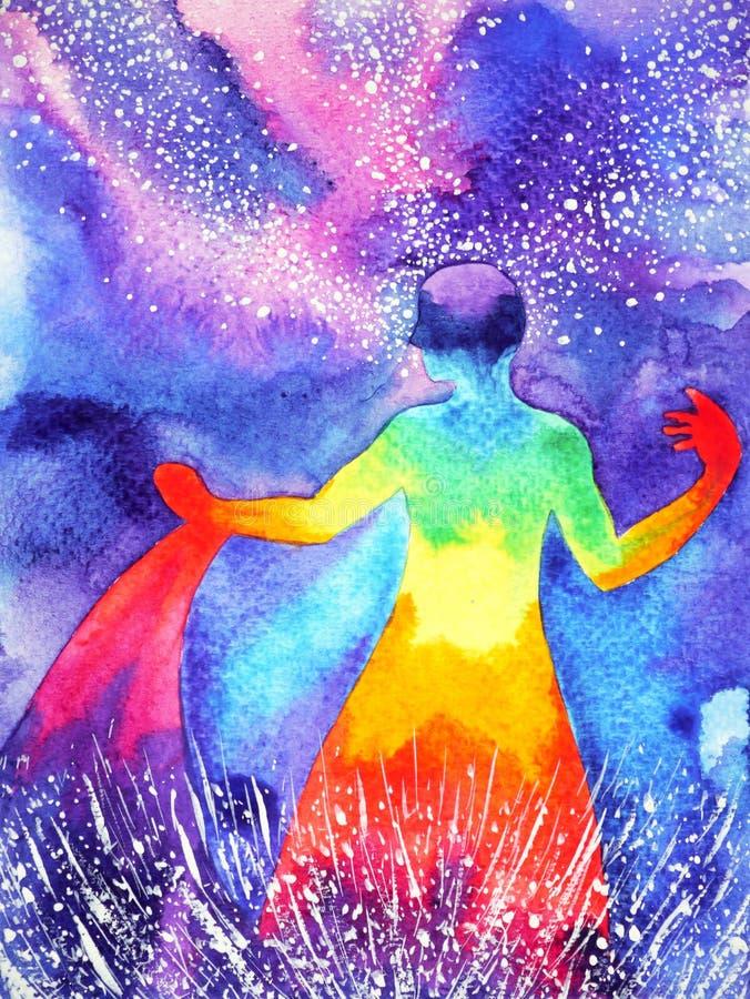 Accione para arriba al ser humano, pintura de la acuarela, poder del extracto del reiki del chakra stock de ilustración