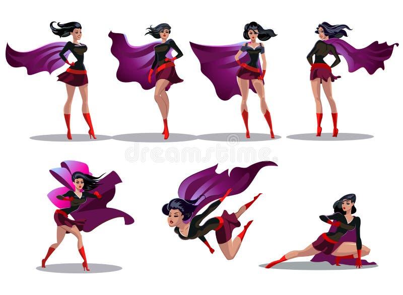 Acciones cómicas del superwoman en diversas actitudes Personajes de dibujos animados femeninos del vector del super héroe Ejemplo libre illustration