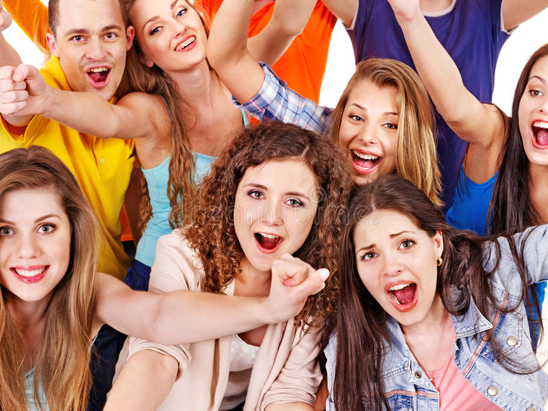 Acclamation de supporter de groupe pour. image libre de droits