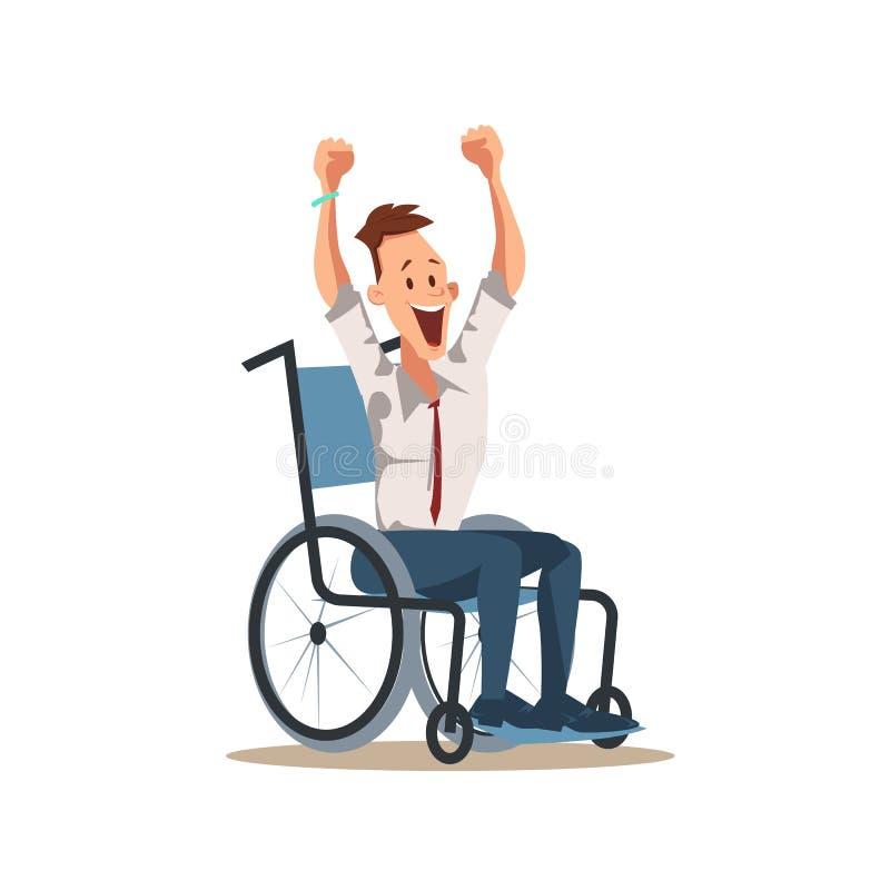 Acclamation masculine handicapée heureuse de travailleur avec la main  illustration libre de droits