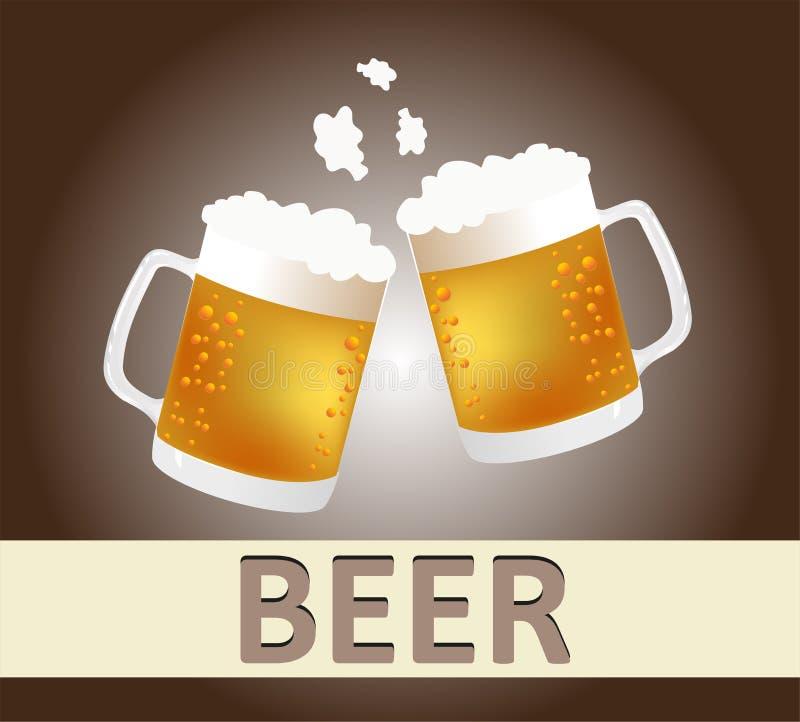 Acclamazioni delle tazze di birra illustrazione di stock