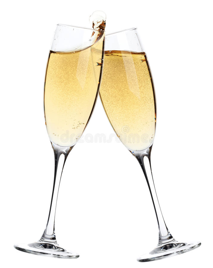Acclamazioni! Due vetri del champagne fotografie stock