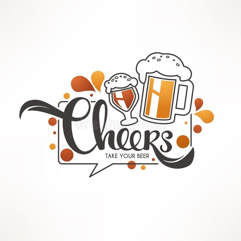 Acclamazioni, illustrazione di vettore con le tazze della birra alla spina e c di iscrizione illustrazione vettoriale