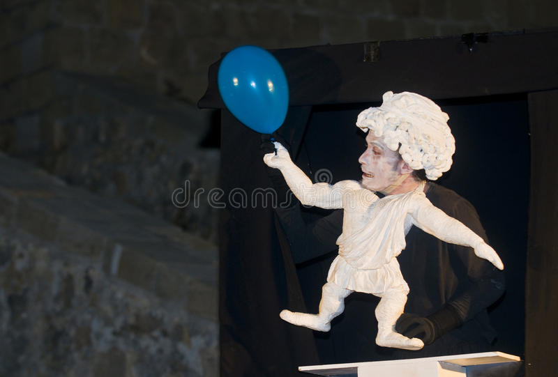 Acco festival. ACCO , ISRAEL - OCT 17 : An unidentified actor perform in the annual Acco festival of alternative theatre take place in the old city of Acco royalty free stock photos