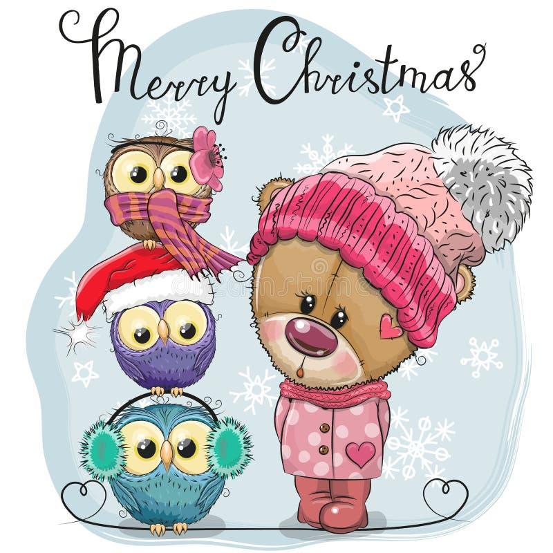 Accogliendo cartolina di Natale Teddy Bear sveglio e tre gufi royalty illustrazione gratis