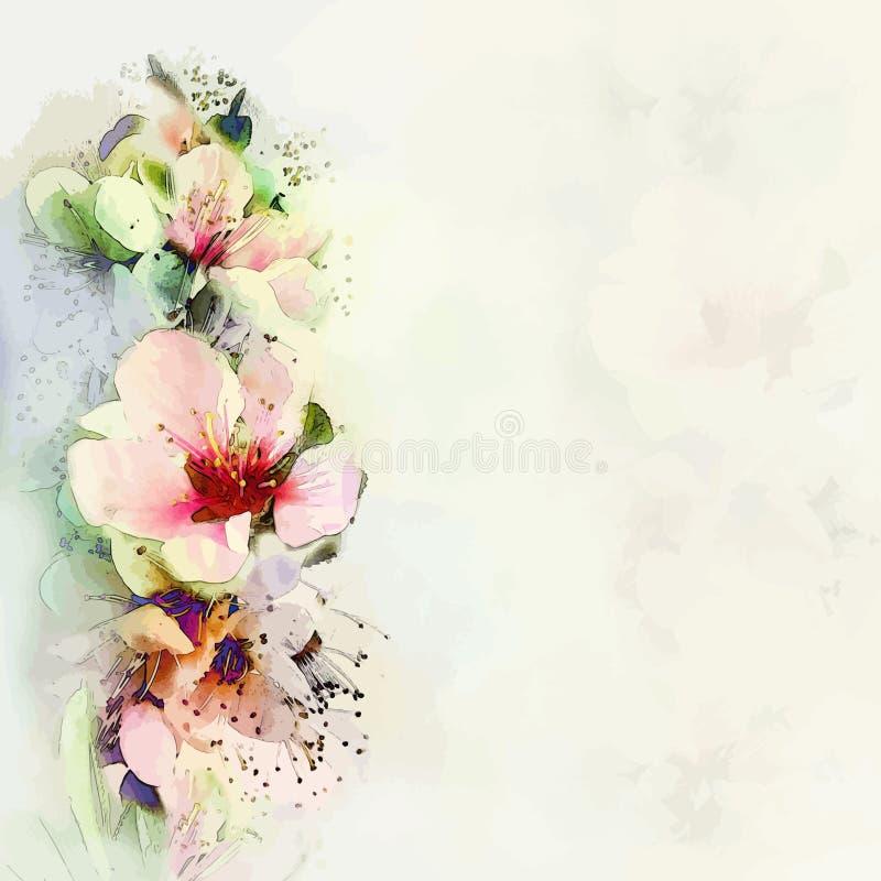 Accogliere carta floreale con i fiori luminosi della molla illustrazione di stock