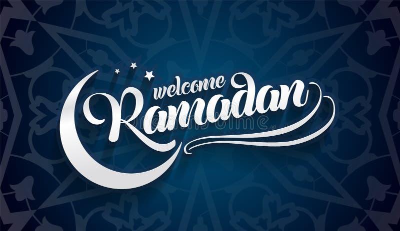 Accogliere favorevolmente la cartolina d'auguri del Ramadan su fondo blu orientale orientale illustrazione vettoriale