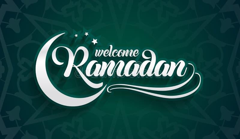 Accogliere favorevolmente la cartolina d'auguri del Ramadan su fondo verde orientale orientale illustrazione vettoriale