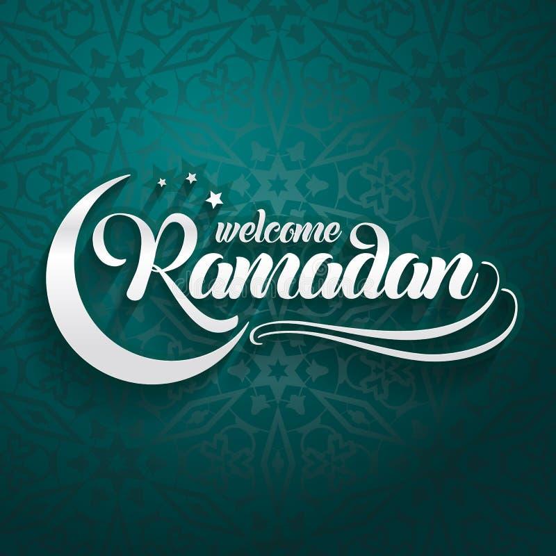 Accogliere favorevolmente la cartolina d'auguri del Ramadan su fondo verde orientale orientale royalty illustrazione gratis