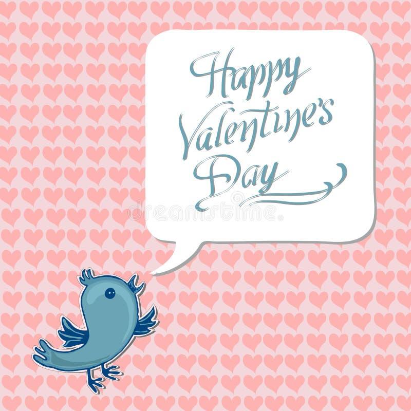 Accogliere giorno di S. Valentino felice con l'uccello blu illustrazione di stock