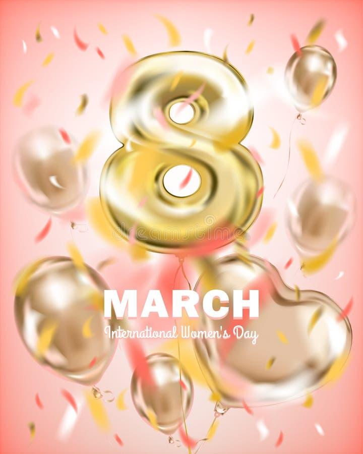 Accogliere insegna l'8 marzo, il giorno della donna internazionale immagine stock