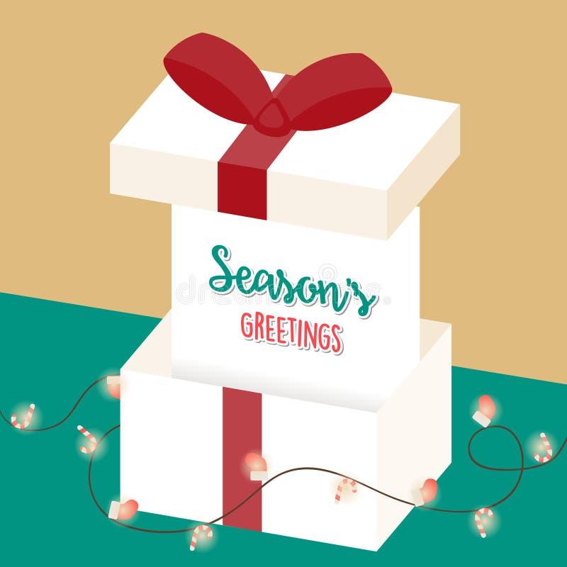 Accogliere la carta di stagione Grandi contenitore di regalo ed elemento della decorazione sul fondo di Natale royalty illustrazione gratis