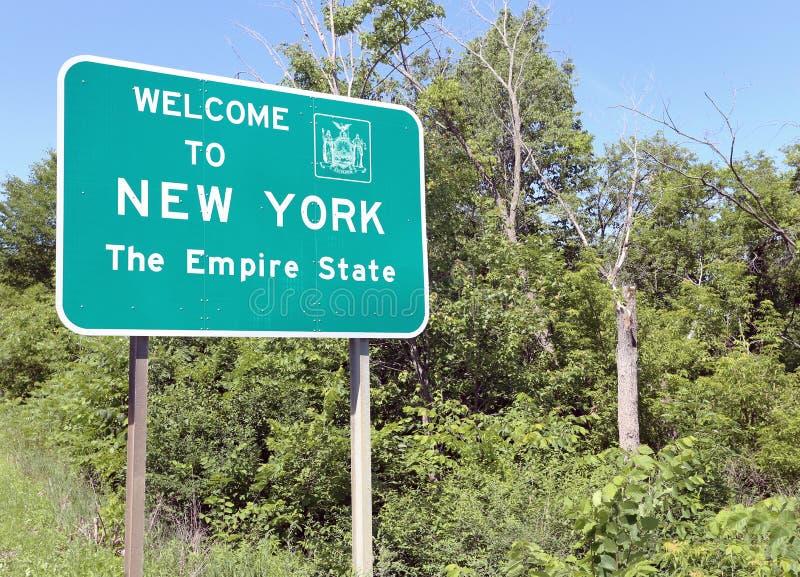 Accolga favorevolmente a New York lo stato dell'impero fotografia stock