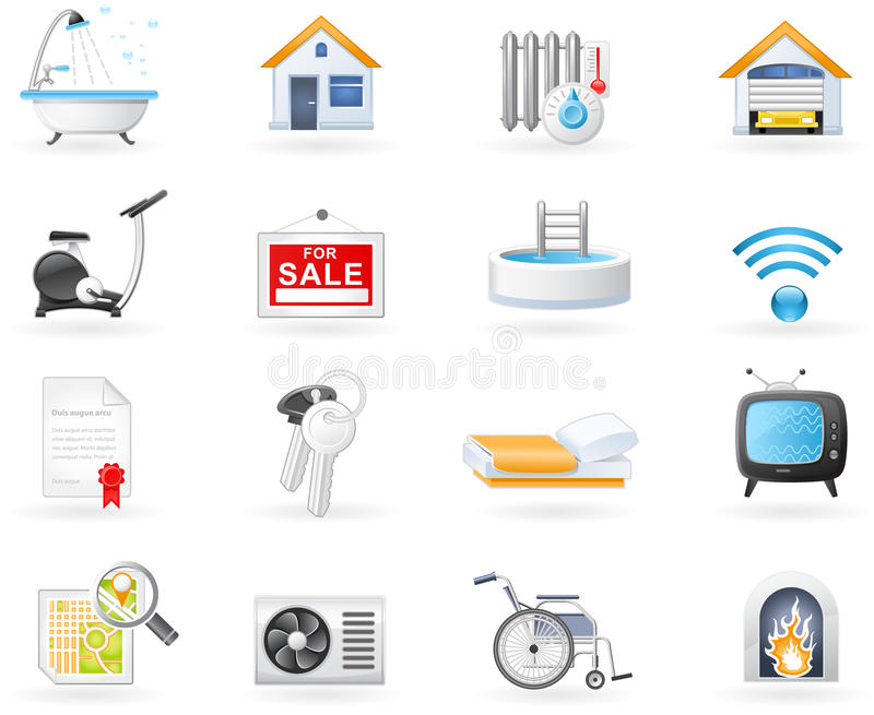 Accommodation amenities icon set. Real Estate and Accommodation amenities icon set stock illustration