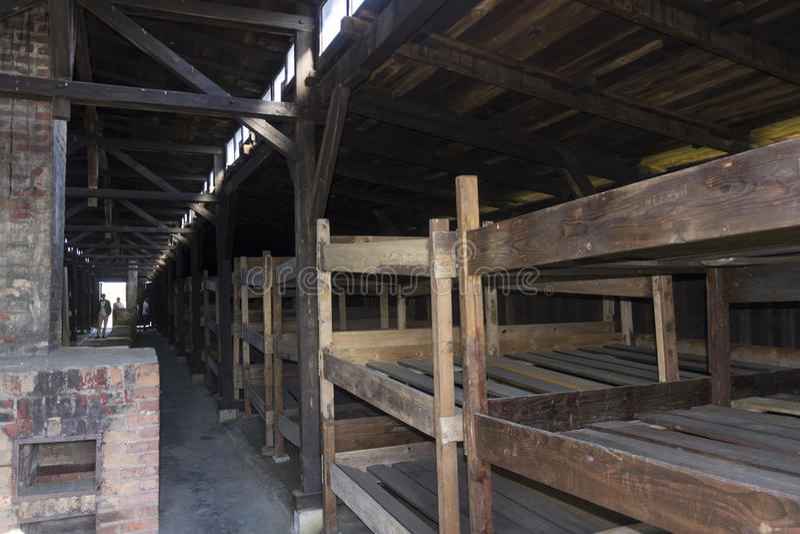 Accommodation in Auschwitz II Birkenau stock images