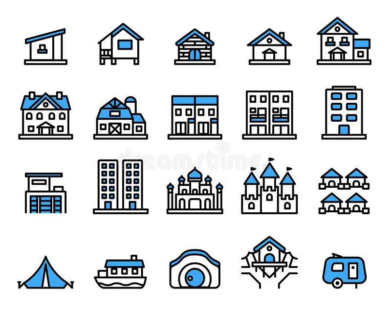 Accommodation icon set.Vector thin line style. Pixel perfect preview stock illustration