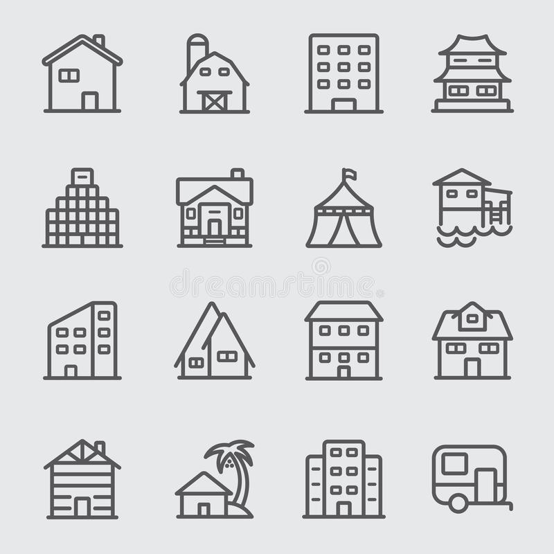 Accommodation line icon. Accommodation and Building line icon royalty free illustration