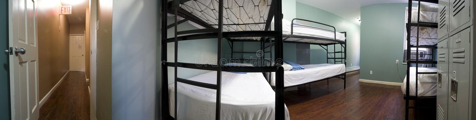 Accommodations. Panoramic view of accommodations in a hostel royalty free stock photos