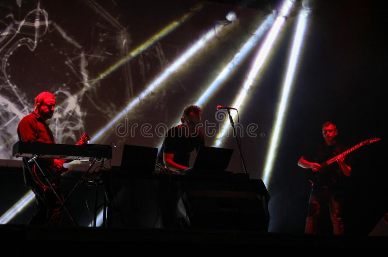 Accomplice Affair live at International Multimedia Presentation - Ambient Festival . Gorlice. Poland. Gorlice, Poland - July 14 2017: Accomplice Affair live at royalty free stock photography