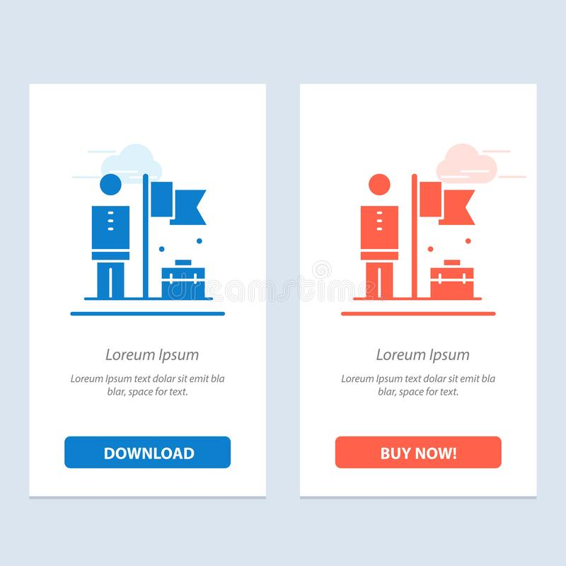 Accomplished, Achieve, Businessman, Flag  Blue and Red Download and Buy Now web Widget Card Template stock illustration