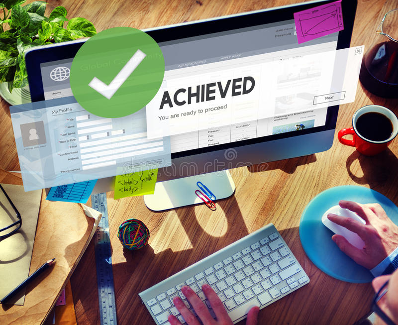 Accomplished Achieved Approve Completed Concept royalty free stock photography