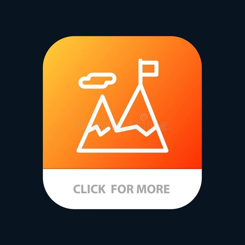Accomplished, Business, Mission, Motivation Mobile App Button. Android and IOS Line Version stock illustration