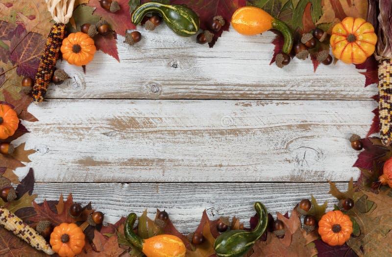 Accomplissez la frontière de cercle du feuillage d'automne avec l'autre decorat de chute photo stock