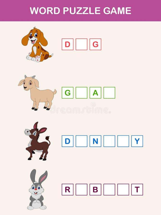 Accomplissez le jeu éducatif d'enfants de mots Étude du thème et du vocabulaire d'animaux de ferme illustration libre de droits