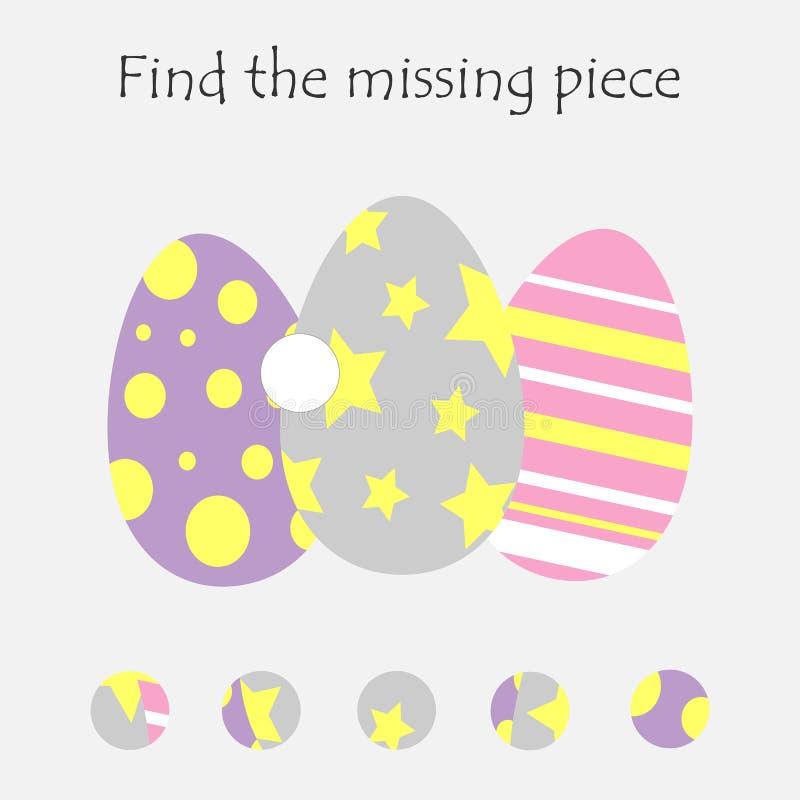 Accomplissez le puzzle et trouvez le morceau absent, le jeu de Pâques d'éducation d'amusement pour des enfants, activité préscola illustration de vecteur