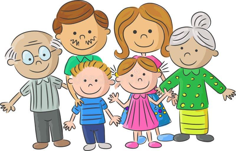 Accomplissez les parents de soin de famille de bande dessinée avec des enfants illustration stock