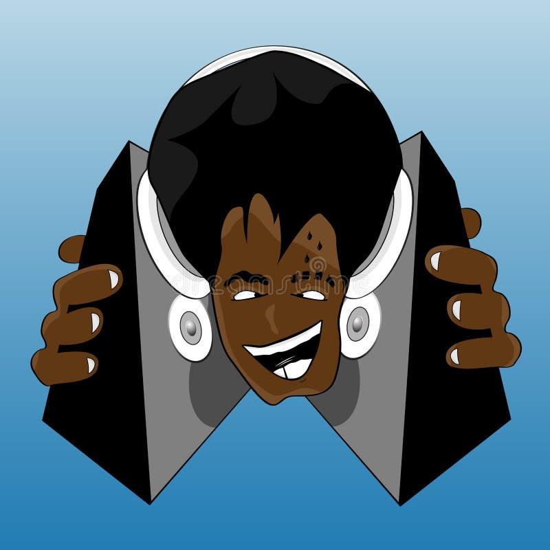 Acconciatura afro pazzesca DJ illustrazione vettoriale