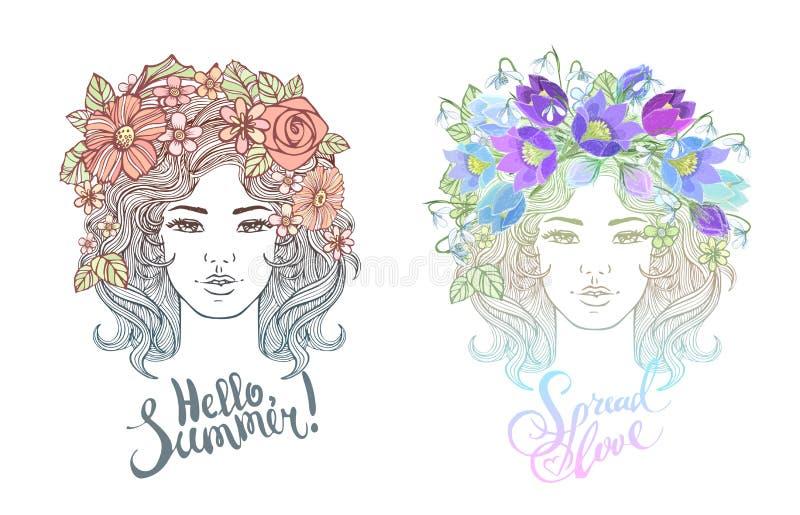 Acconciatura decorativa della ragazza con i fiori, foglie in capelli nello stile di scarabocchio Illustrazione della natura, e ma fotografie stock