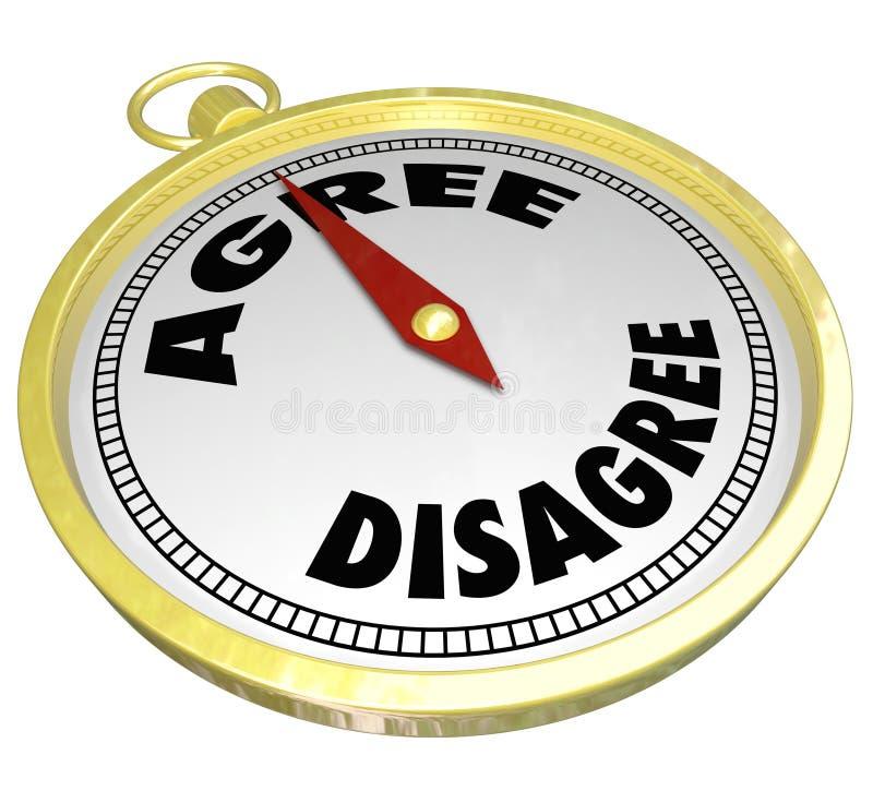 Acconsenta contro sono in disaccordo decisione di consenso di voto della bussola di parole illustrazione vettoriale