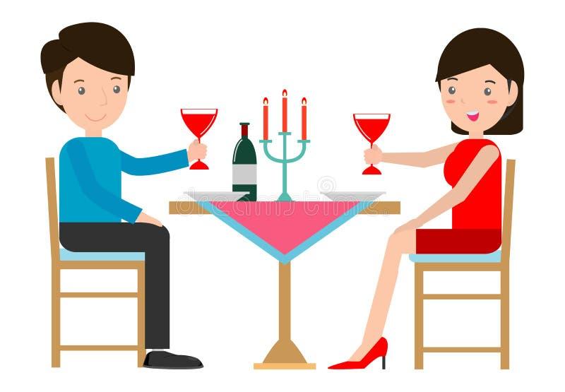 Accoppi avere la cena romantica da lume di candela, le coppie cenando in un ristorante, l'uomo e donna che si siedono alla tavola illustrazione di stock