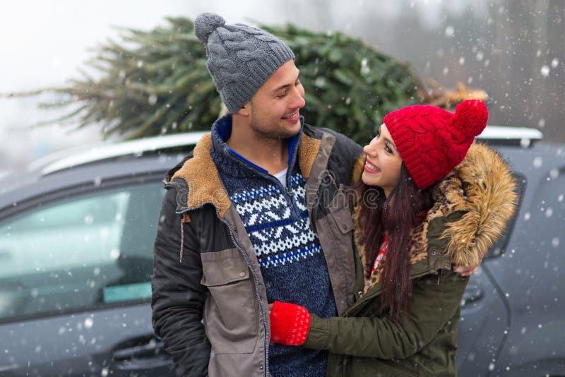 Accoppi con il loro albero di Natale sul tetto dell'automobile fotografia stock libera da diritti