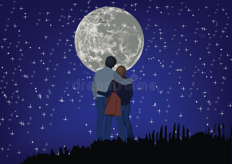 Accoppi degli amanti con un cielo stellato e la luna illustrazione di stock